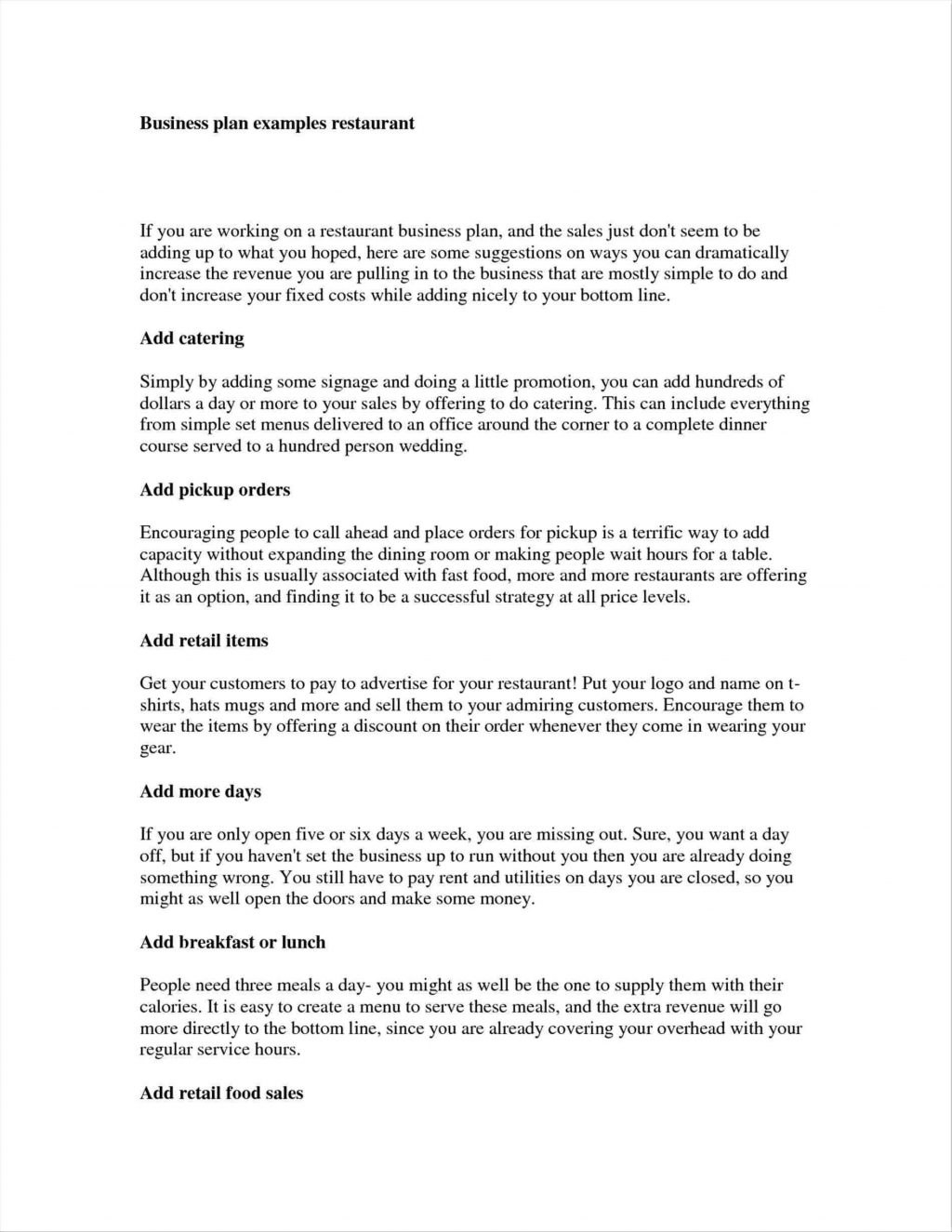 Business Plan Examples Restaurant Outline Simple Sample Word In Very Simple Business Plan Template