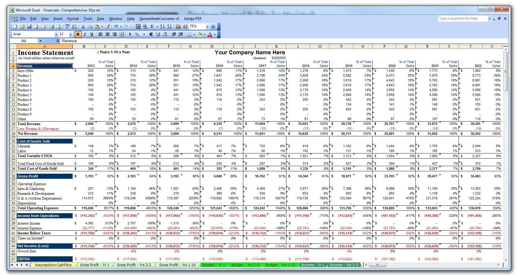 Business Plan Financial Template Pl Yr Stupendous Templates For Inside Business Plan Balance Sheet Template