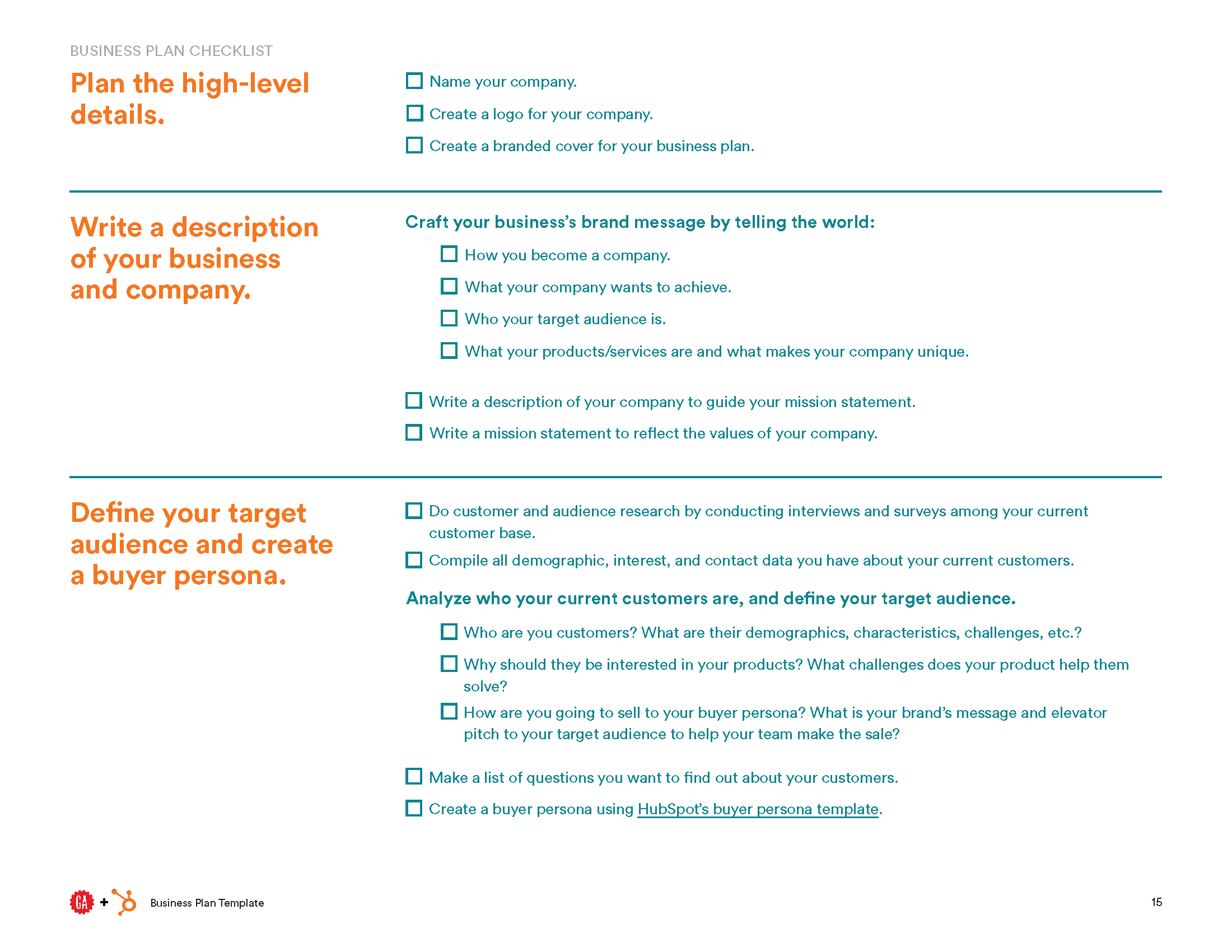 Business Plan Template  Hubspot  General Assembly Throughout Events Company Business Plan Template