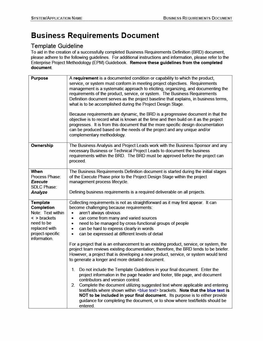 Business Requirements Document Example  Examples And Forms Inside Example Business Requirements Document Template
