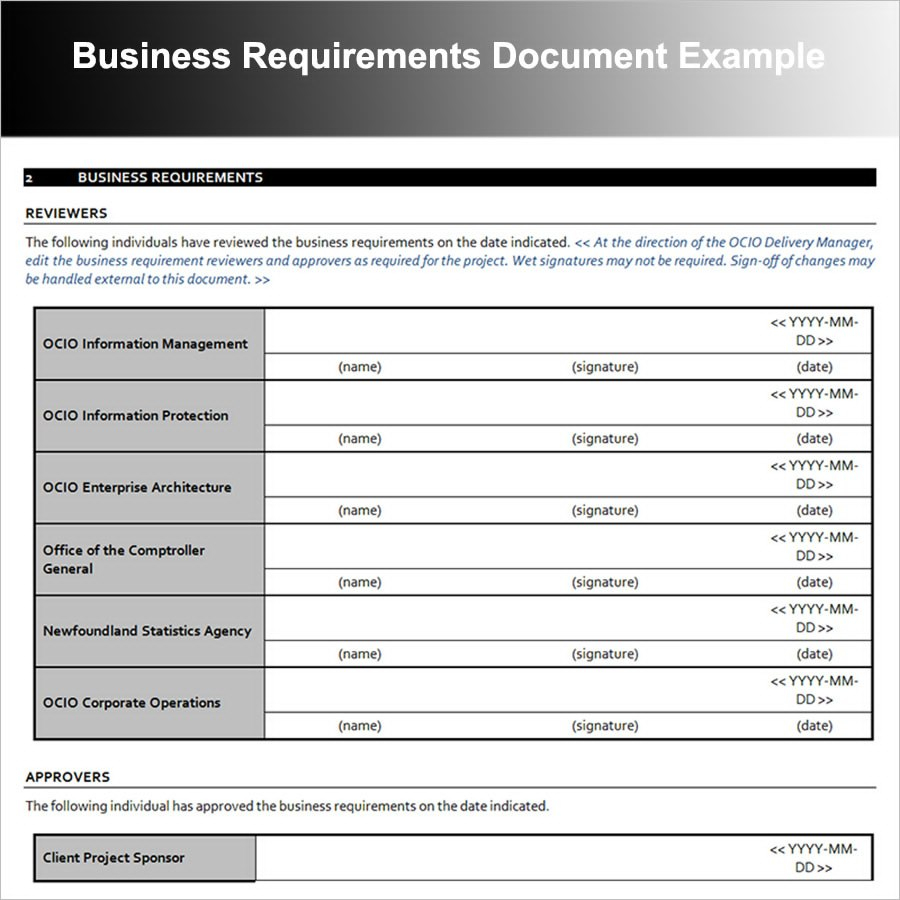 Business Requirements Document Examples  Pdf  Examples In Sample Business Requirement Document Template