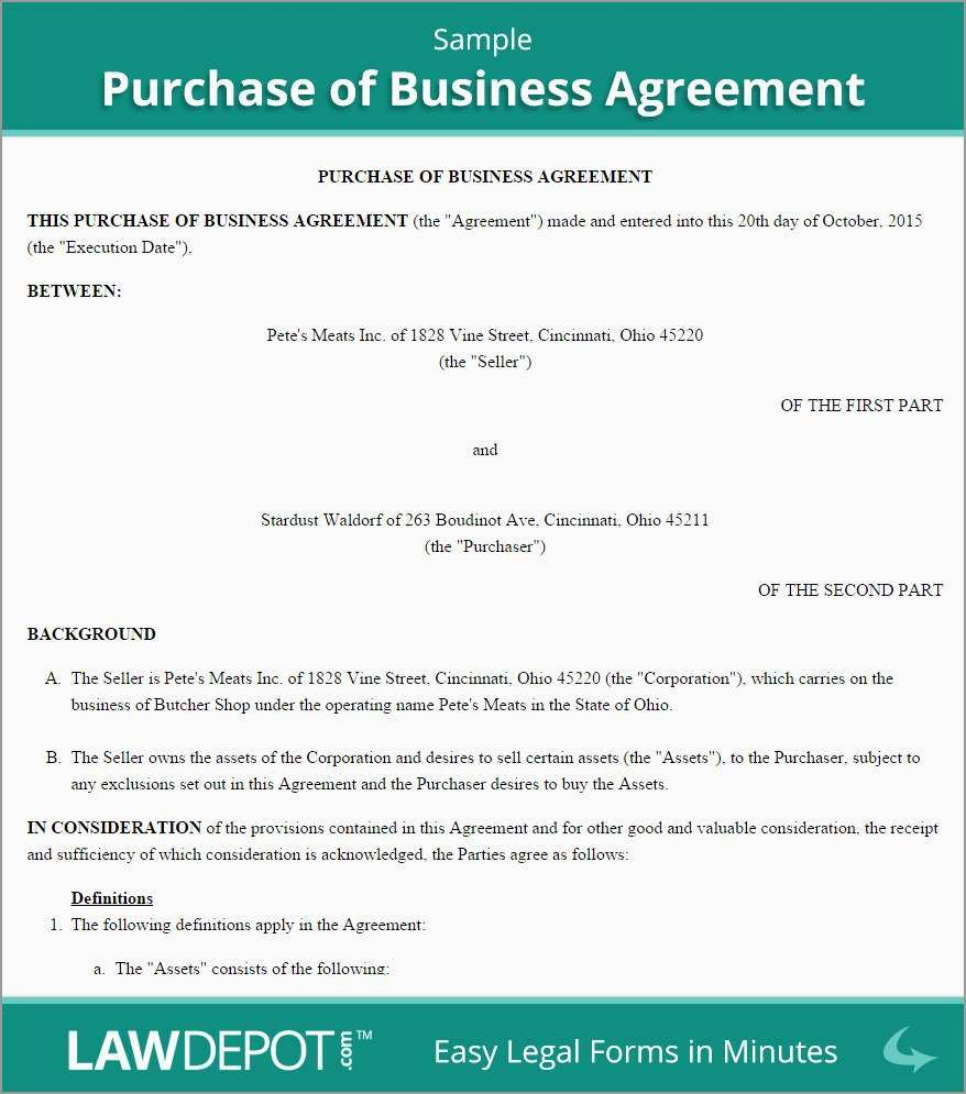 Business Sale Agreement Template Free Fabulous Business Purchase Regarding Free Business Purchase Agreement Template