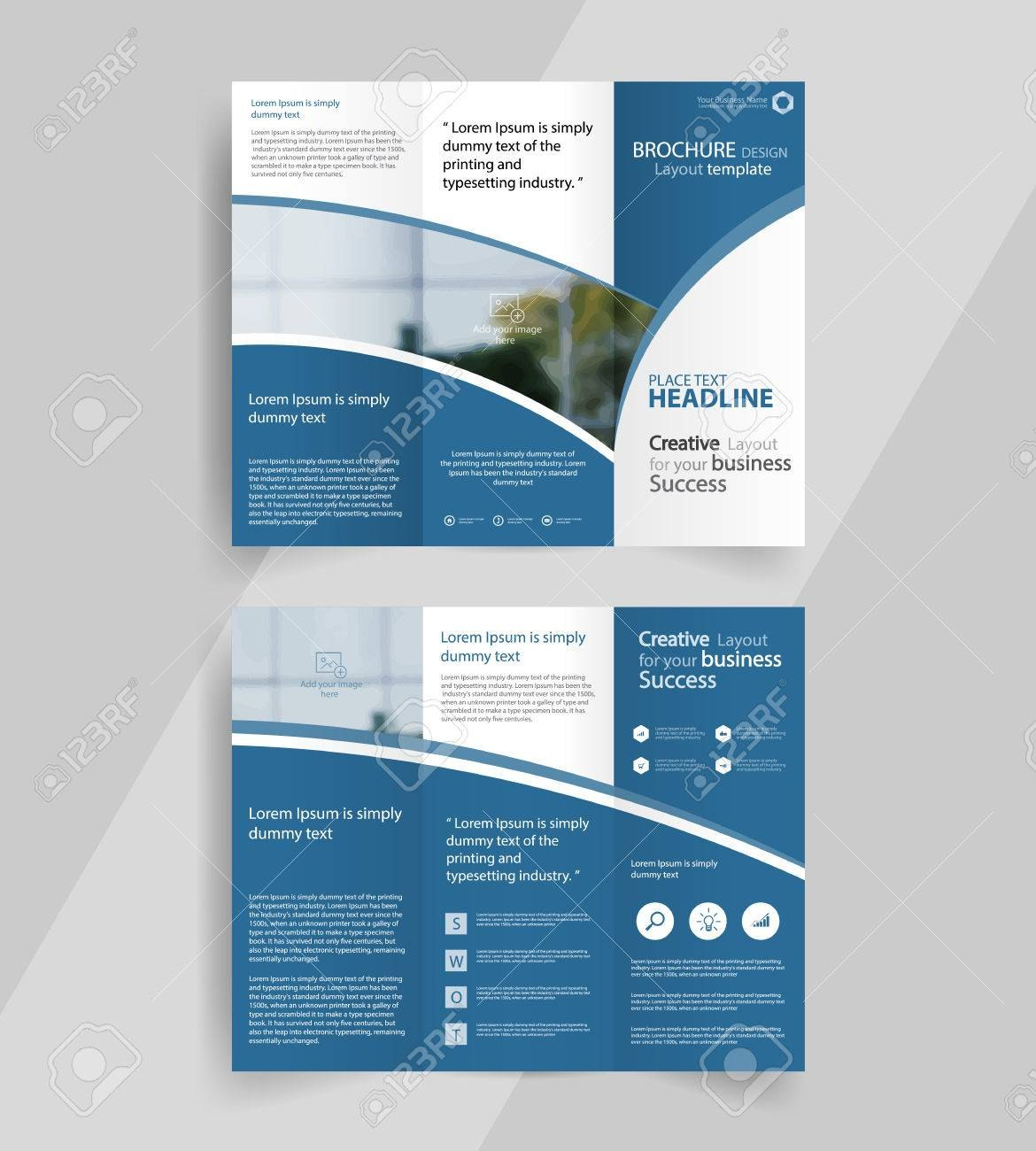 Business Trifold Brochure Layout Design Vector A Brochure Regarding Free Three Fold Brochure Template