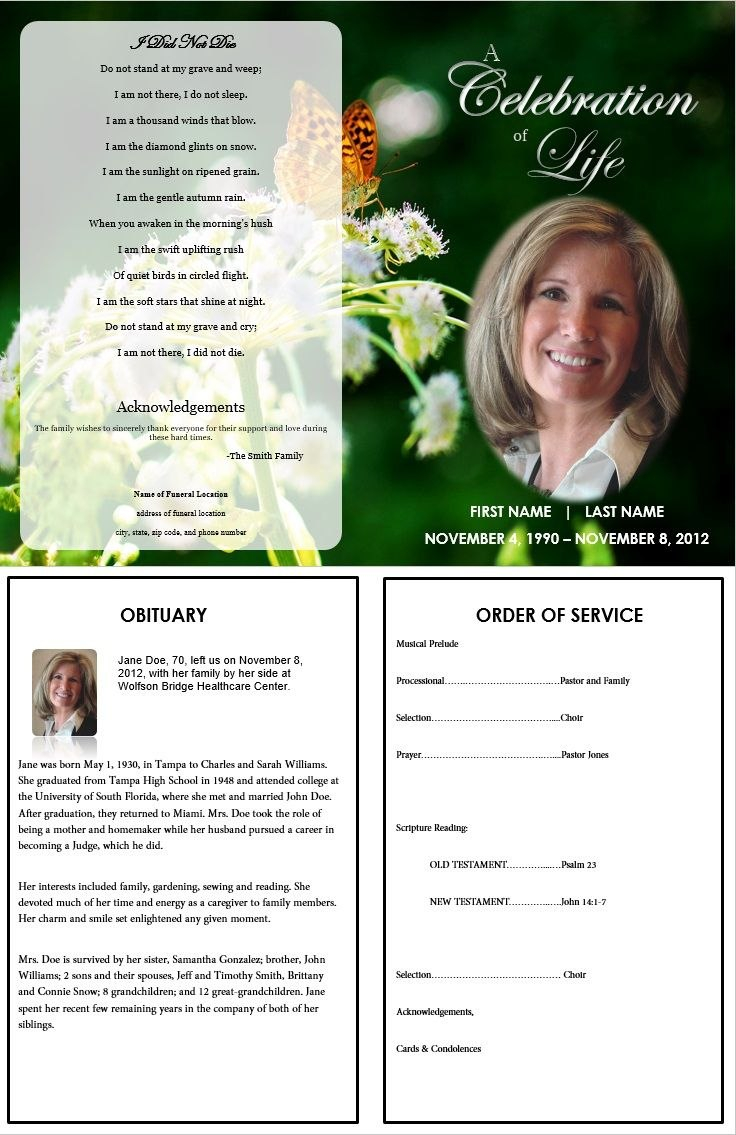 Butterfly Memorial Program  Memorials  Funeral Memorial Funeral Within Remembrance Cards Template Free
