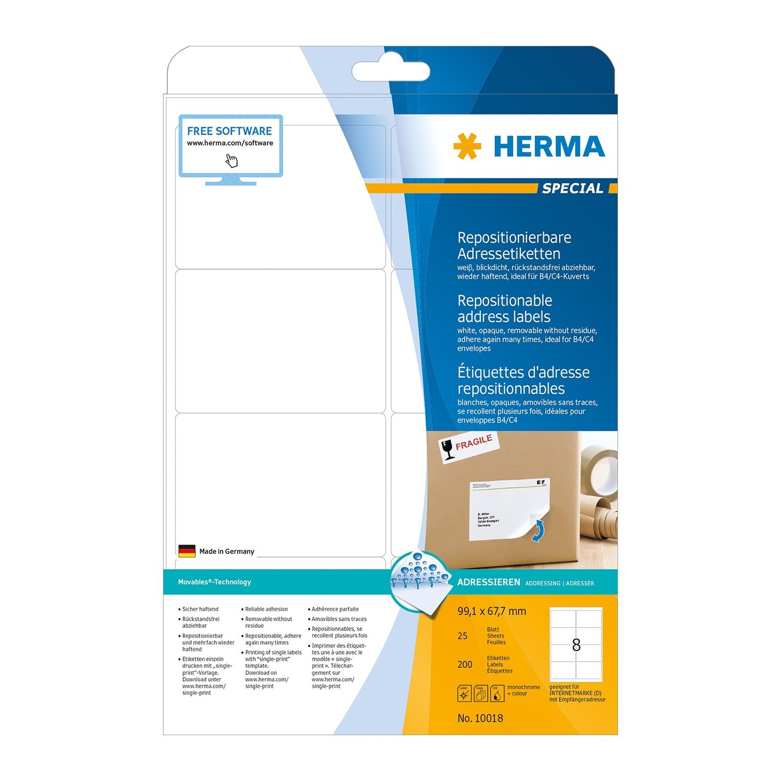 Buy Herma Removable Address Labels A  X  Mm White  Shm In 99.1 X 67.7 Mm Label Template
