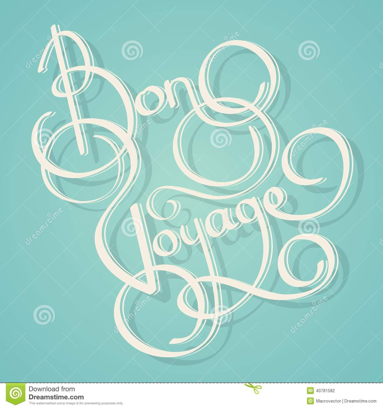 Calligraphy Bon Voyage Text Stock Vector  Illustration Of Postcard Within Bon Voyage Card Template