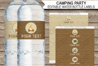 Camping Party Water Bottle Labels  Editable Template for Birthday Water Bottle Labels Template Free