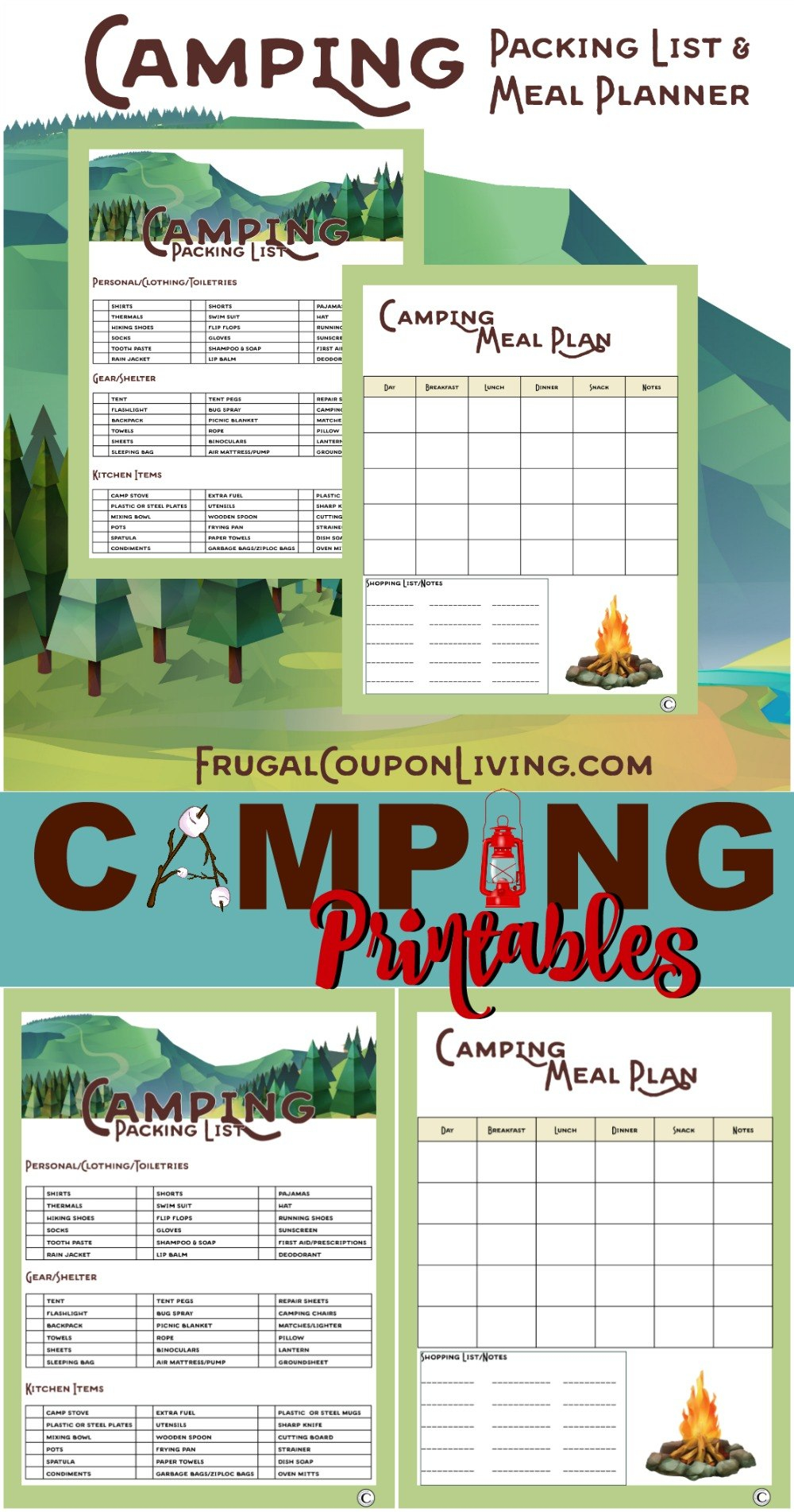 Camping Printables  Packing List And Meal Planner Intended For Camping Menu Planner Template