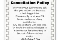 Cancellation Policy Poster  Zazzleca In   Spa Ad regarding Salon Cancellation Policy Template