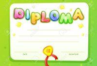Cartoon Kids Certificate Diploma Template Children Achievement with regard to Certificate Of Achievement Template For Kids