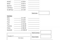 Cash Count Sheet Template  Balance Sheet  Work Planner Balance within End Of Day Cash Register Report Template