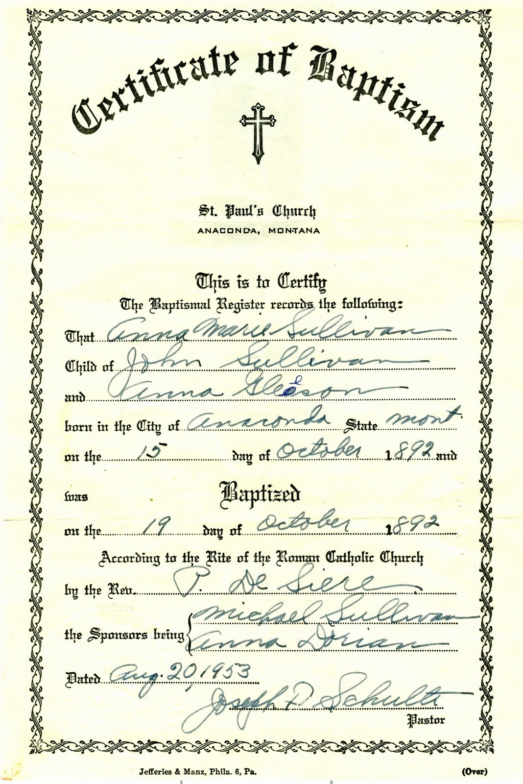 Catholic Baptism Certificate Template  Stanley Tretick With Roman Catholic Baptism Certificate Template