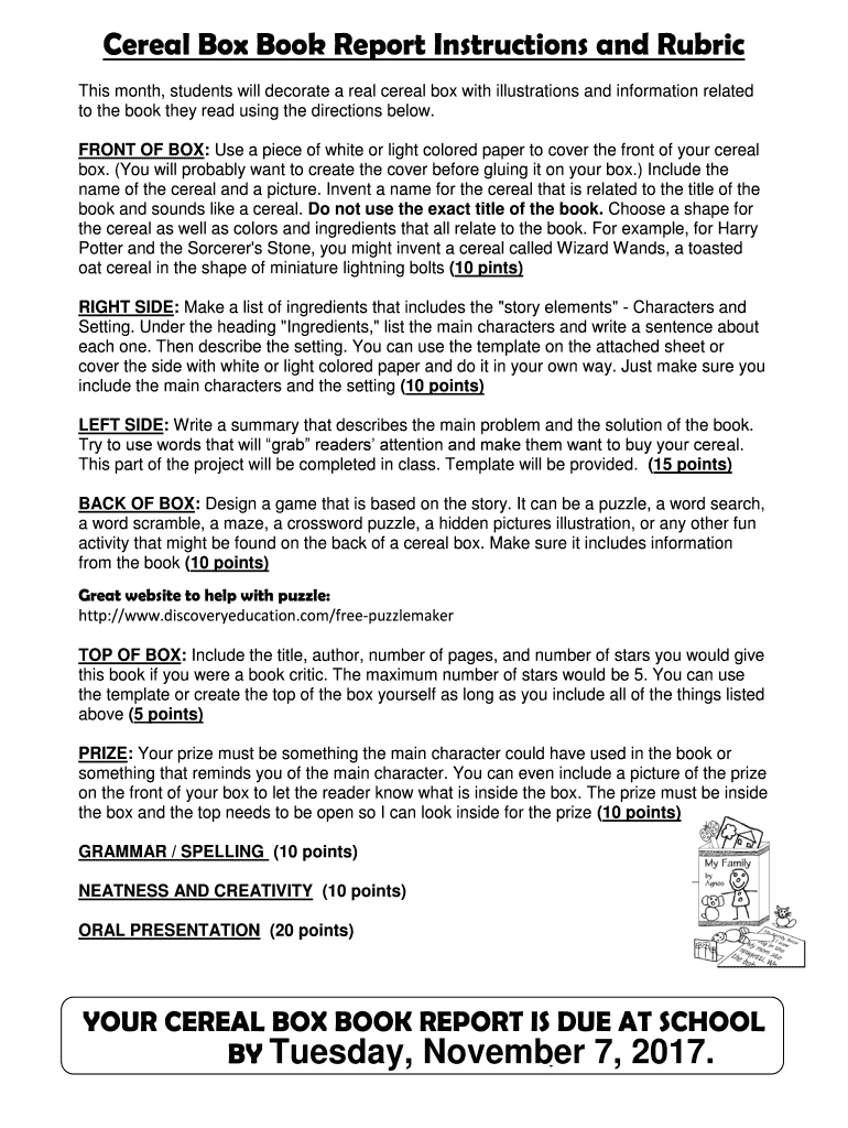 Cereal Box Book Report Instructions And Rubric Fill Online Regarding Cereal Box Book Report Template
