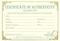 Certificate Authenticity Template Art Authenticity Certificate inside Art Certificate Template Free