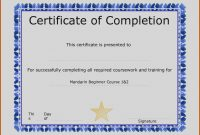 Certificate Completion Template  – Elsik Blue Cetane pertaining to Certification Of Completion Template