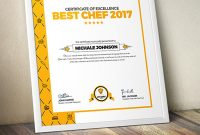 Certificate Design Template For Best Chef Fast Food And Restaurant intended for Design A Certificate Template