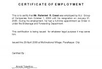 Certificate Employment Template  – Elsik Blue Cetane regarding Sample Certificate Employment Template