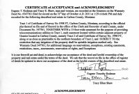 Certificate Of Acceptance And Acknowledgment Of Warranty Deed intended for Certificate Of Acceptance Template