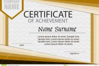 Certificate Of Achievement Template Horizontal Stock Vector with Certificate Of Attainment Template