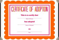 Certificate Of Adoption Template  Sansurabionetassociats inside Blank Adoption Certificate Template