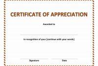 Certificate Of Appreciation in Template For Certificate Of Appreciation In Microsoft Word