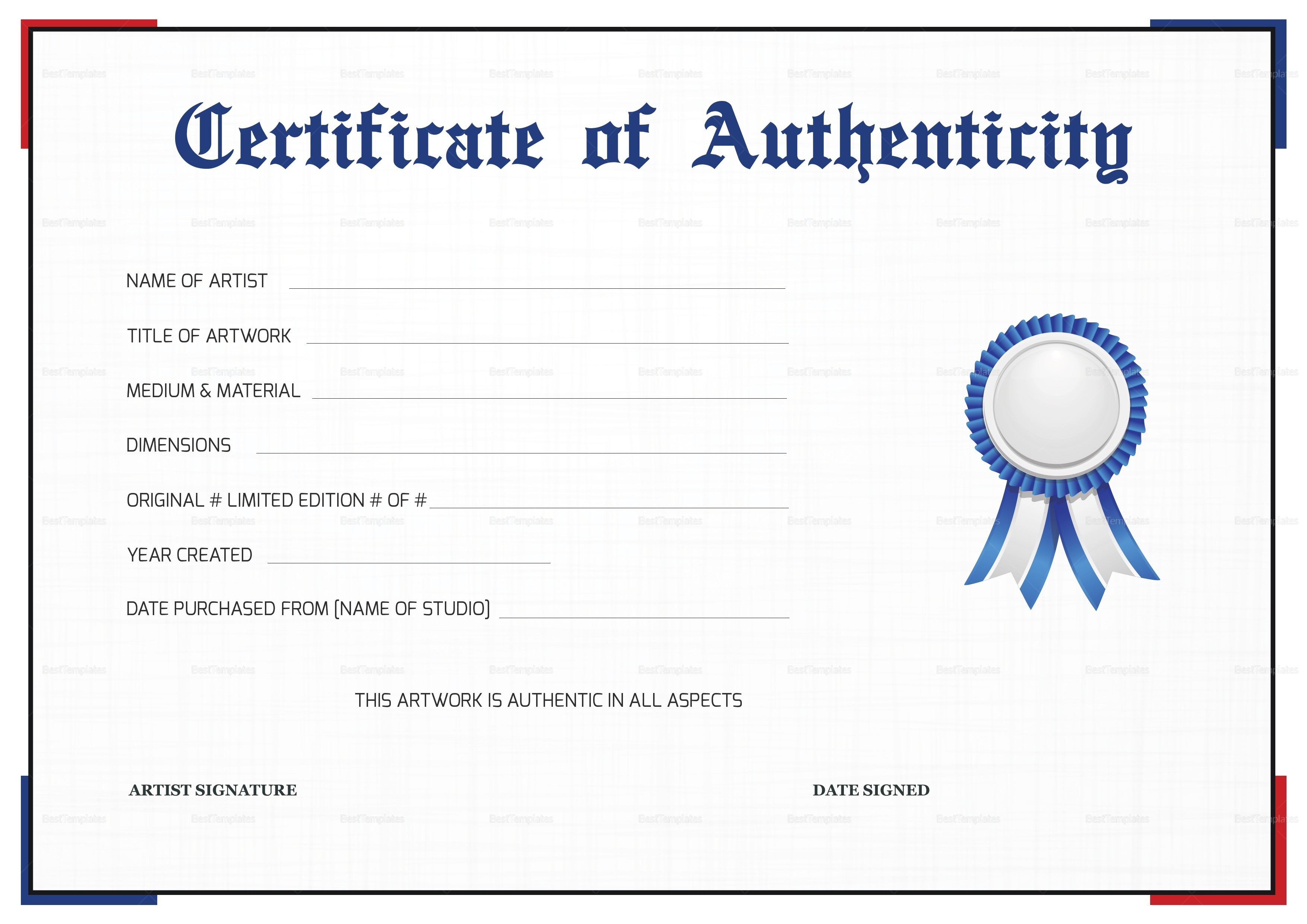 Certificate Of Authenticity Artwork Template Resume Art Example Throughout Art Certificate Template Free