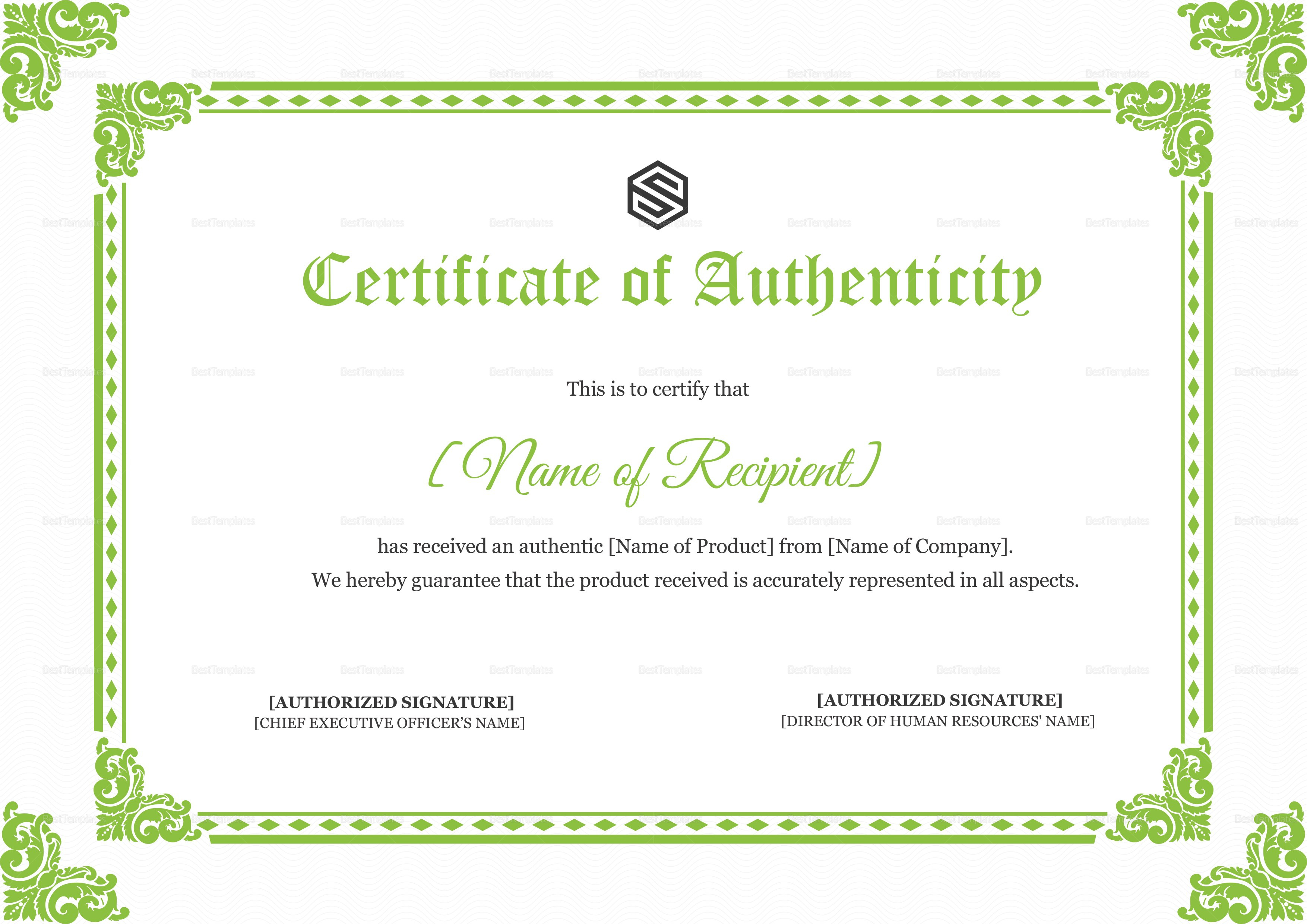 Certificate Of Authenticity Design Template In Psd Word Throughout Certificate Of Authenticity Template
