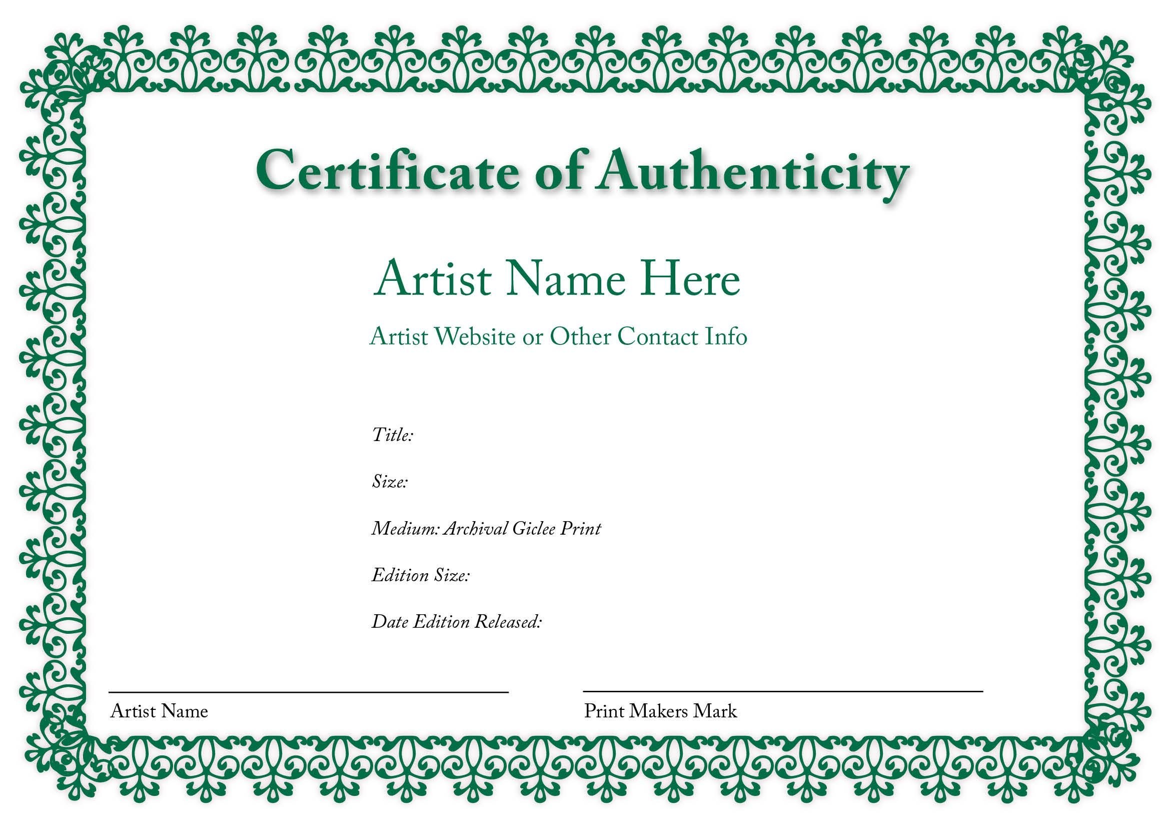 Certificate Of Authenticity Of An Art Print  Certificates Of For Certificate Of Authenticity Photography Template