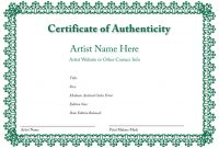 Certificate Of Authenticity Of An Art Print  Certificates Of intended for Art Certificate Template Free