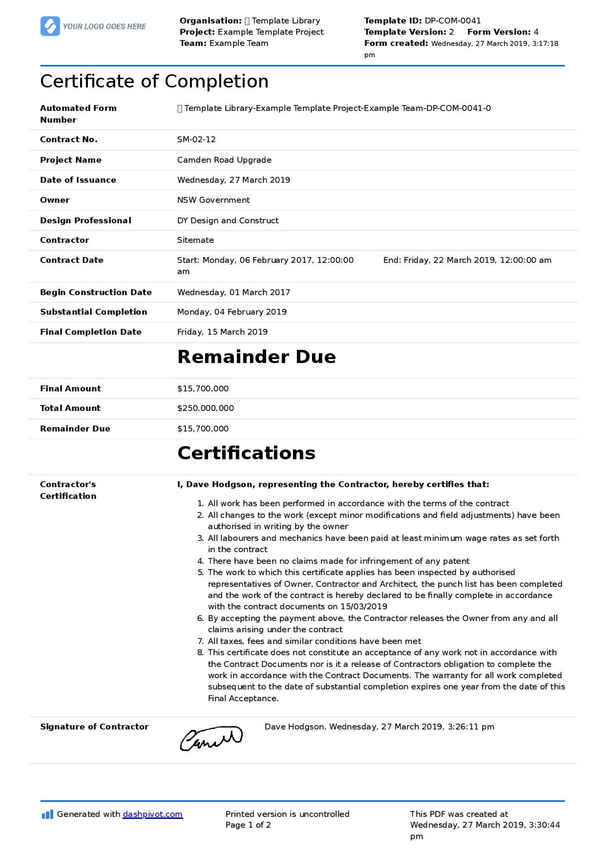 Certificate Of Completion For Construction Free Template  Sample In Certificate Of Completion Construction Templates