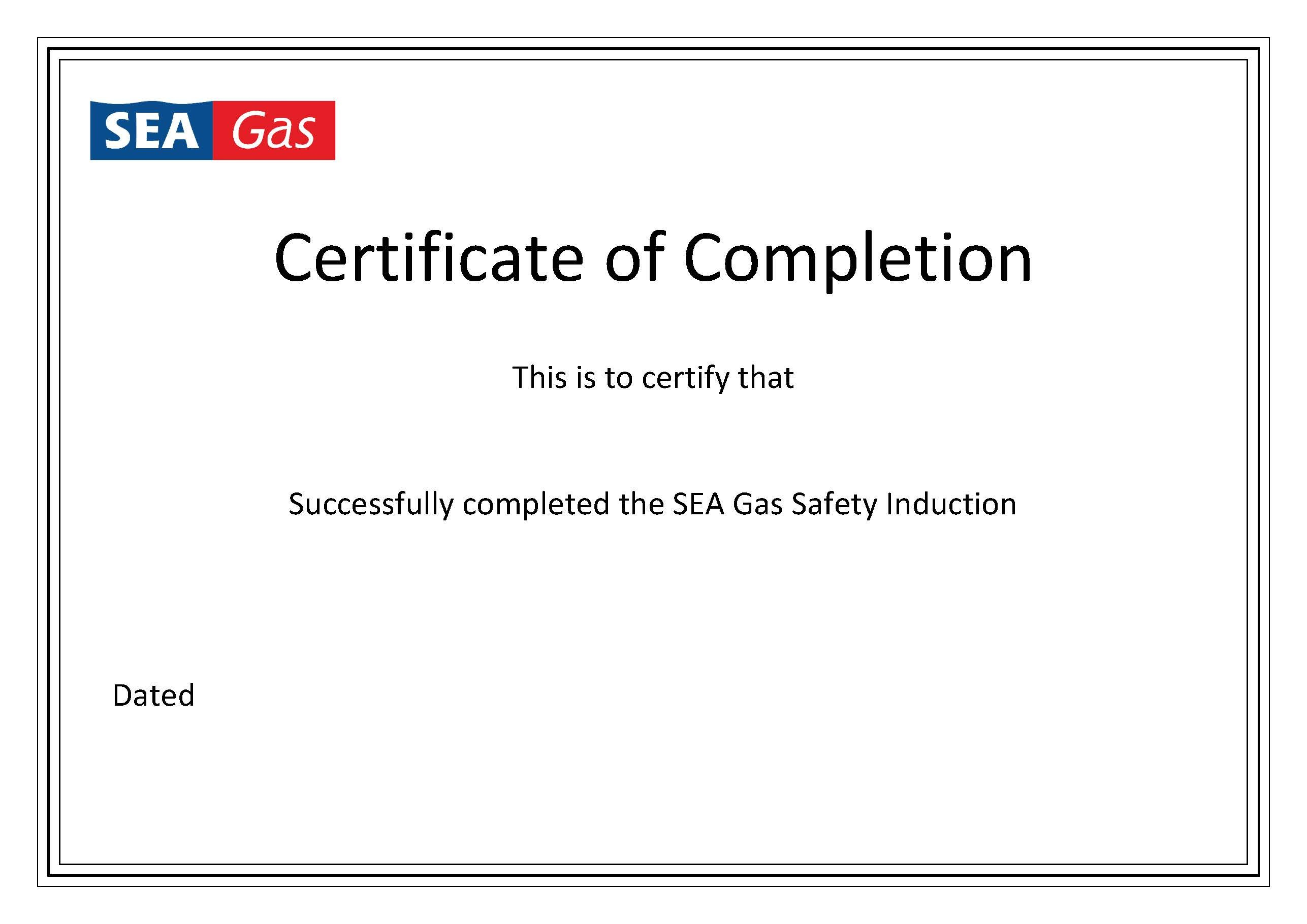 Certificate Of Completion Template  Sea Gas Pertaining To Certification Of Completion Template