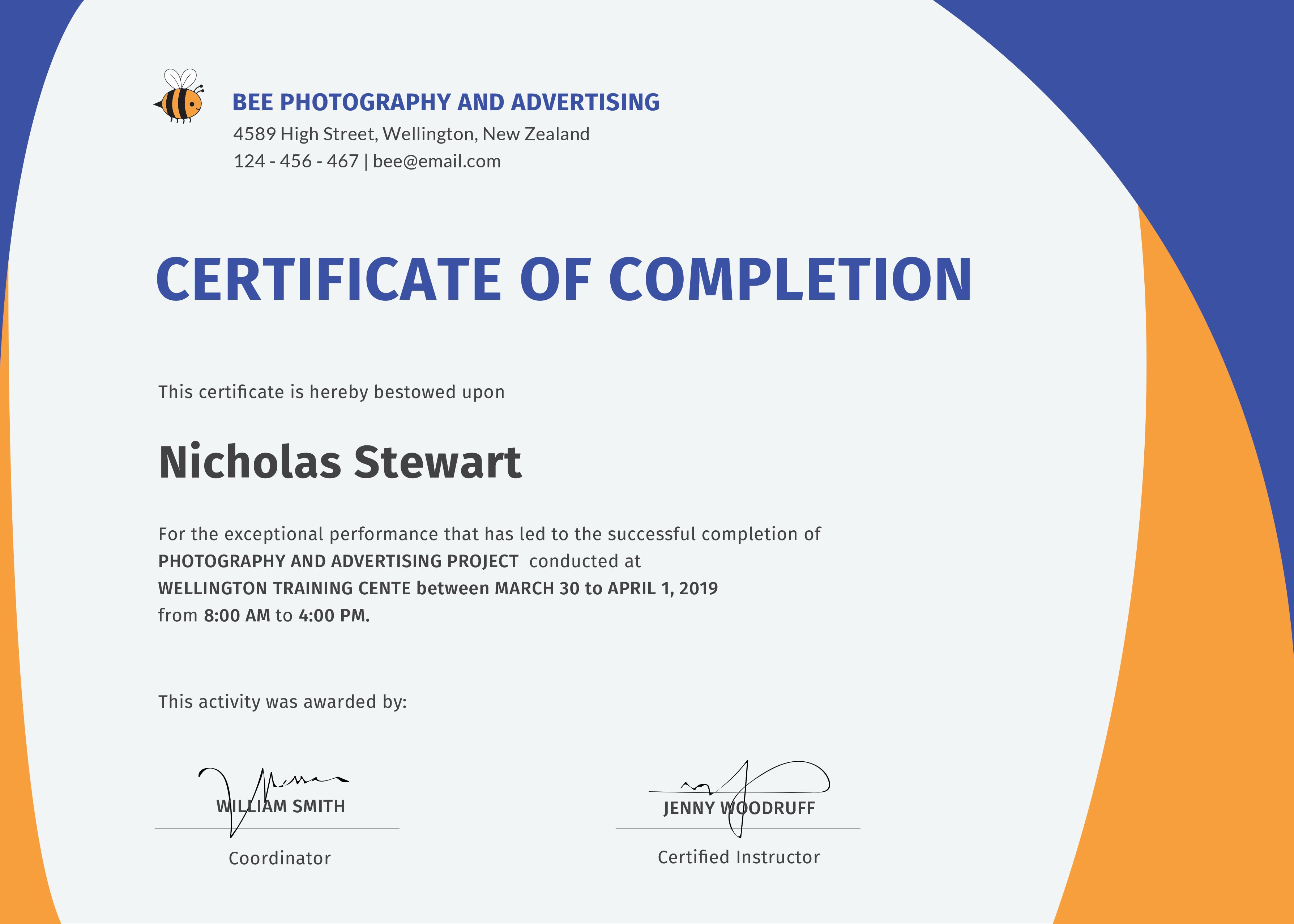 Certificate Of Completion Template Wondrous Ideas Free Printable Within Certificate Template For Project Completion