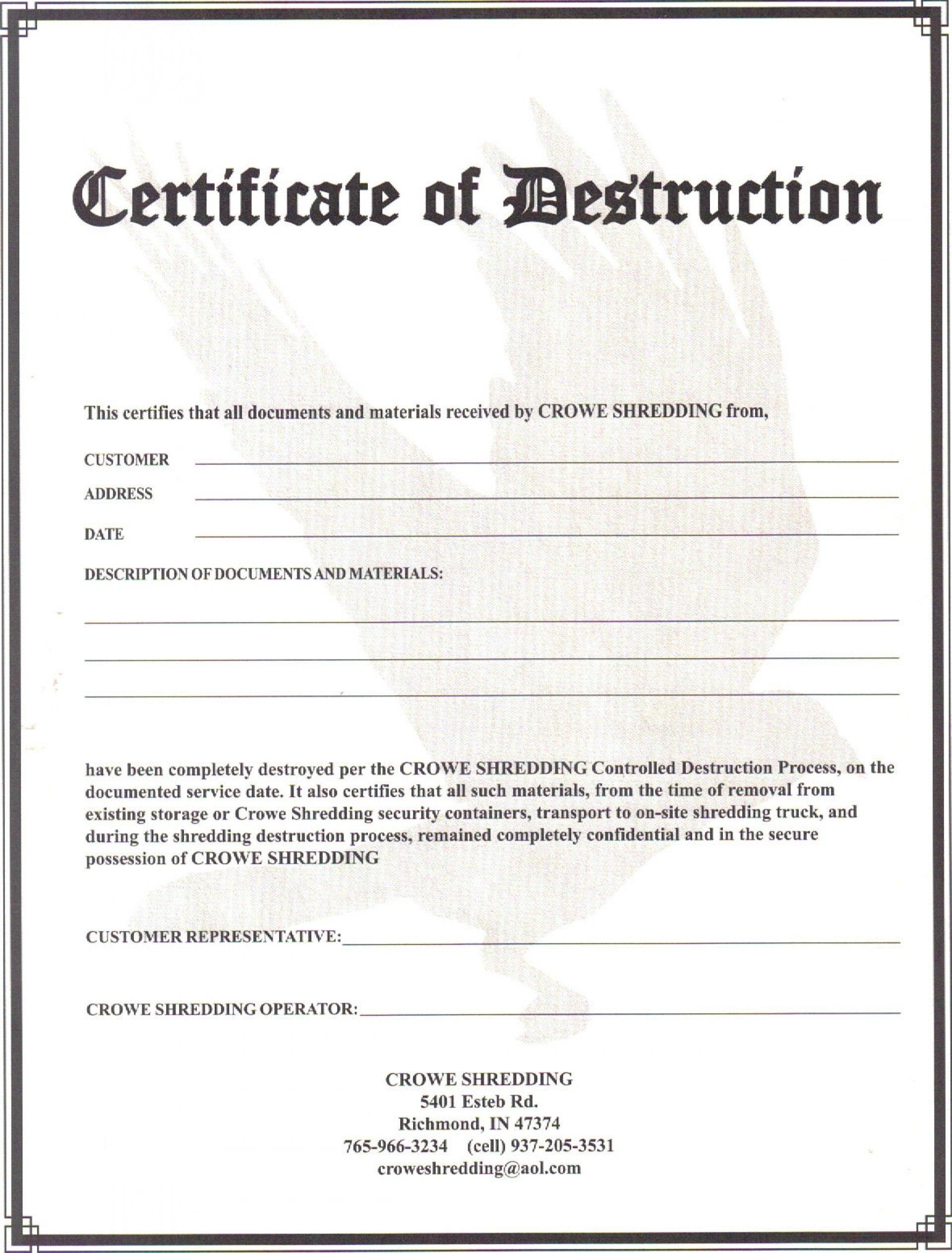 Certificate Of Destruction Template Frightening Ideas Data Uk Within Free Certificate Of Destruction Template
