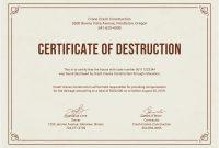 Certificate Of Destruction Template Stunning Word Frightening with Hard Drive Destruction Certificate Template