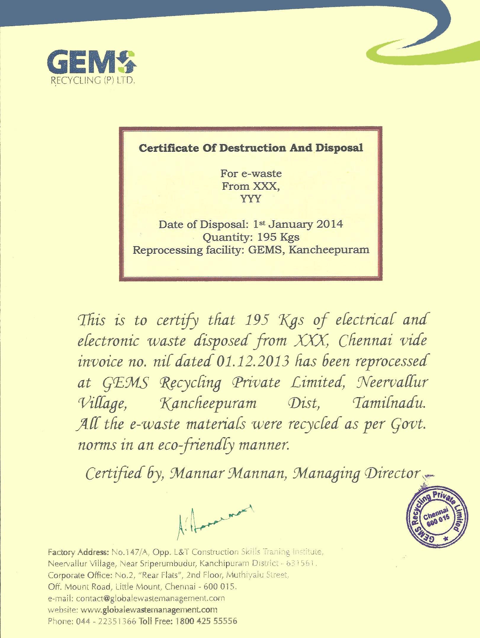 Certificate Of Disposal Template  Mandegar Inside Certificate Of Disposal Template