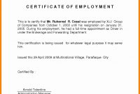 Certificate Of Employment Template Ideas Example In Hotel Sample inside Certificate Of Service Template Free
