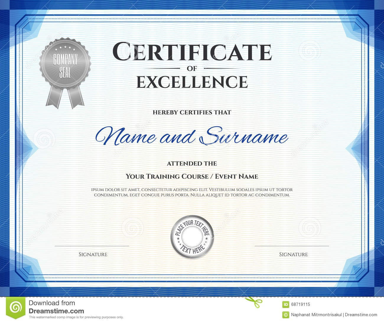 Certificate Of Excellence In Vector Stock Vector  Illustration Of Within Free Certificate Of Excellence Template