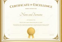 Certificate Of Excellence Template With Gold Border Stock Vector with regard to Certificate Of Excellence Template Free Download