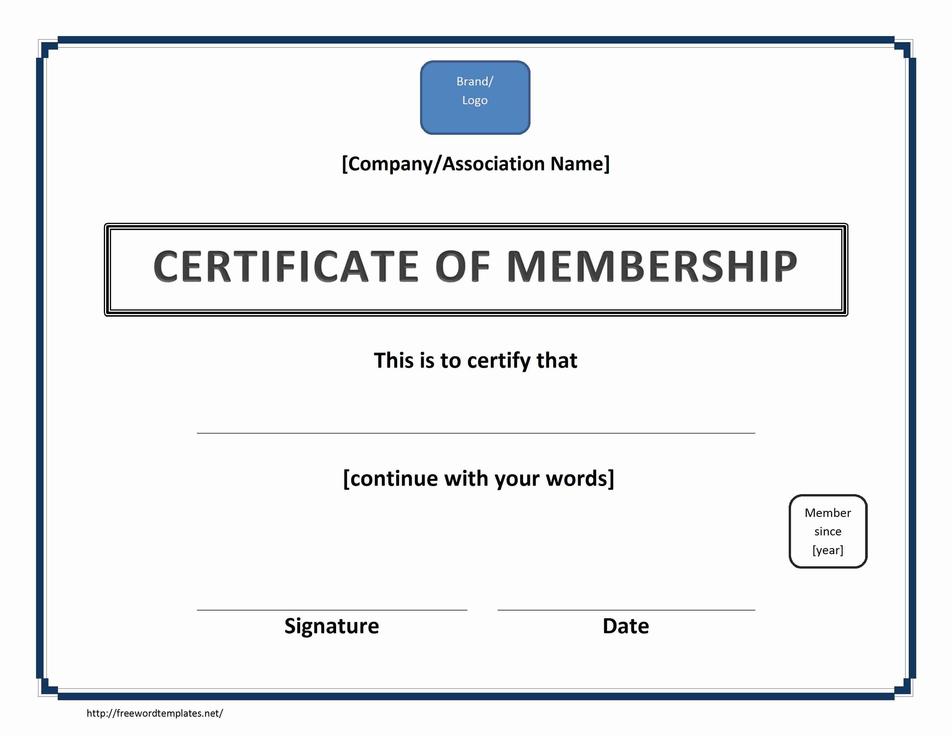 Certificate Of Membership With New Member Certificate Template