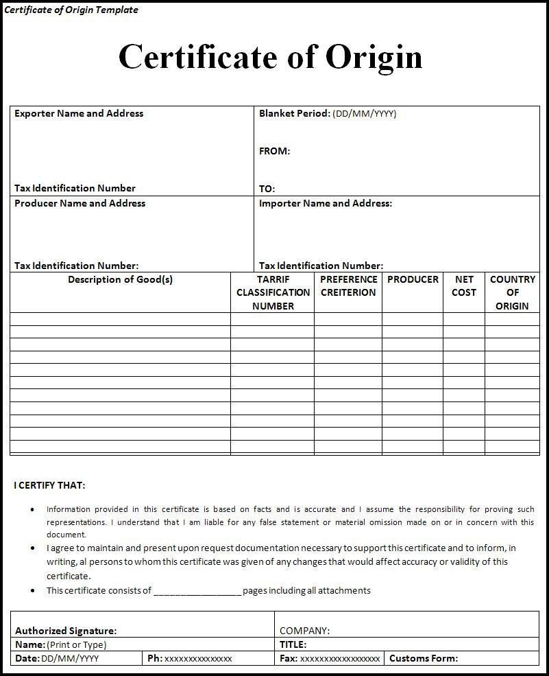 Certificate Of Origin Form  Printableform  Certificate Of Origin For Certificate Of Origin Form Template