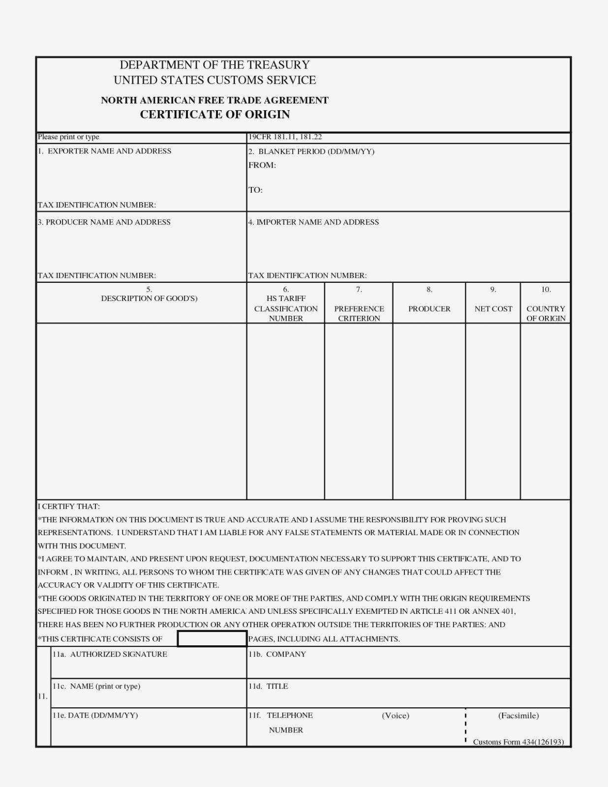 Certificate Of Origin Pdf Fillable Fresh Nafta Certificate Template Inside Nafta Certificate Template