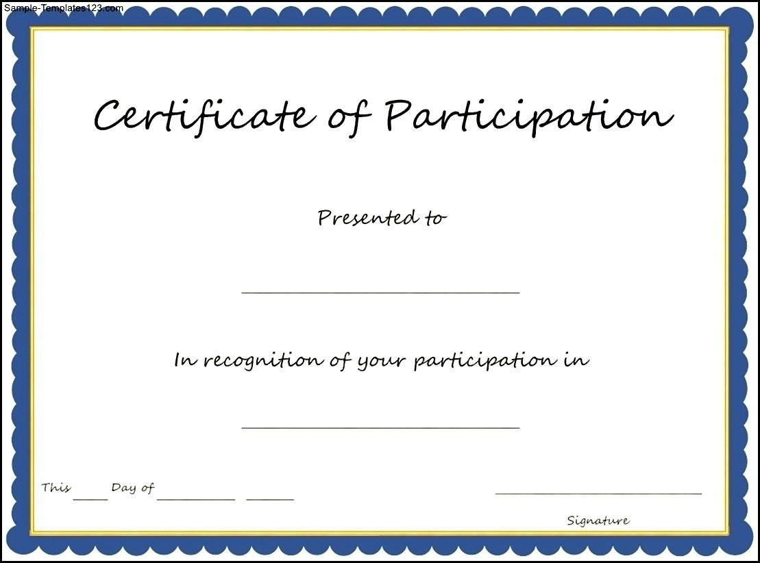 Certificate Of Participation Format Pdf Great Certificate With Certificate Of Participation Template Doc