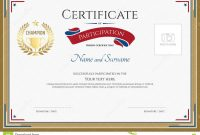 Certificate Of Participation Template In Sport Theme Stock Vector in Certification Of Participation Free Template