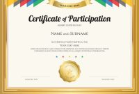 Certificate Of Participation Template With Gold Vector Image for Participation Certificate Templates Free Download