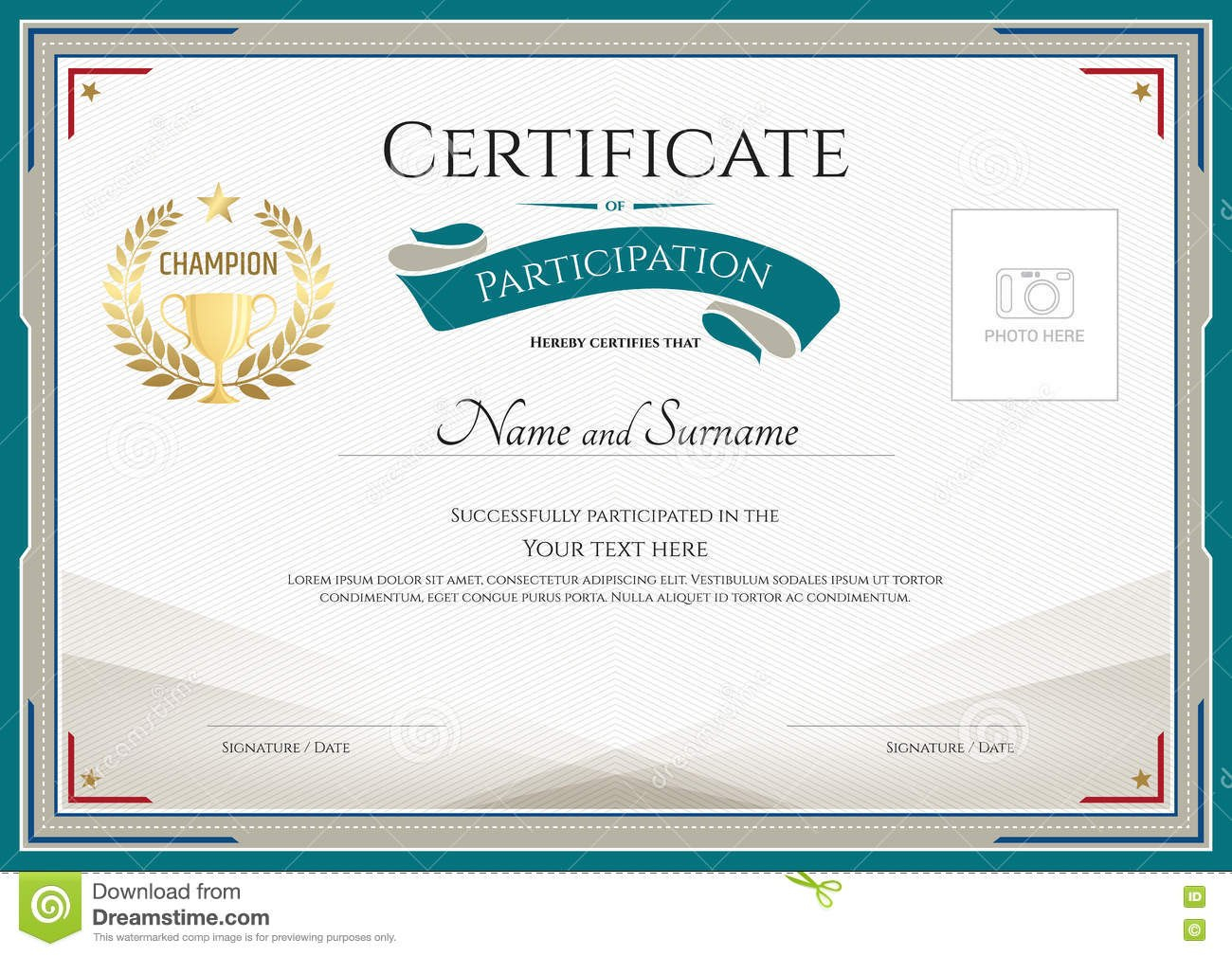 Certificate Of Participation Template With Green Broder Gold Tr With Participation Certificate Templates Free Download