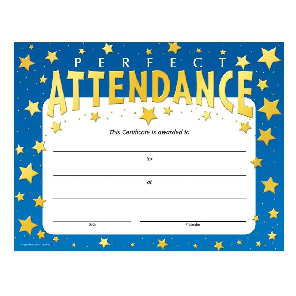 Certificate Of Perfect Attendance  Sansurabionetassociats For Attendance Certificate Template Word