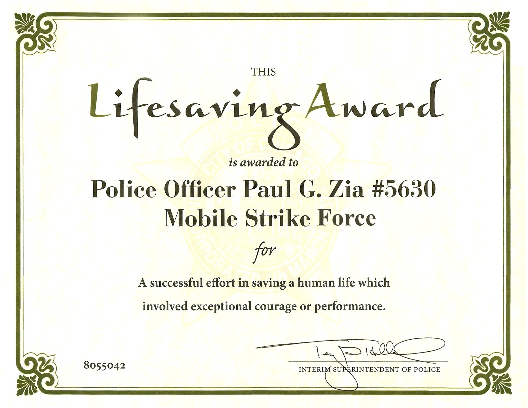 Certificate Of Performance Template  – Elsik Blue Cetane For Life Saving Award Certificate Template
