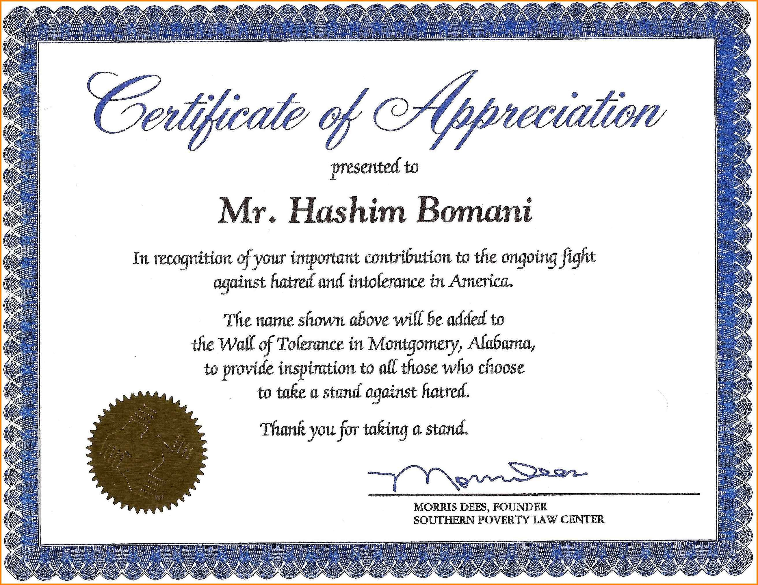 Certificate Of Recognition Wording Copy Certificate Recognition Within Volunteer Award Certificate Template