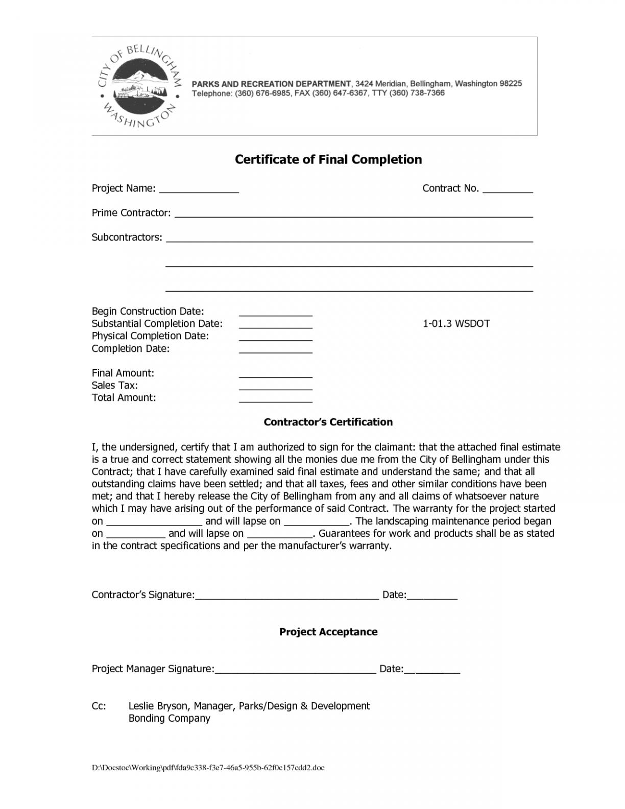 Certificate Of Work Completion Templates  – Elsik Blue Cetane Regarding Certificate Of Substantial Completion Template