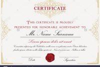 Certificate Template Design With Emblem Flourish Border On White with Certificate Template Size